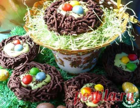 """Пасхальное шоколадное печенье """"Птичьи гнездышки"""" – кулинарный рецепт"""
