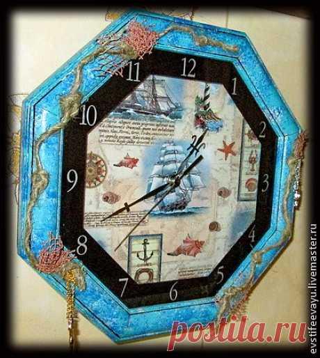"Часы из набора ""Для тех кто в море"" - синий,море-море,море,морская волна"
