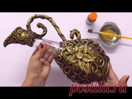 Garrafa Decorada do lixo ao luxo incrível - Artesanato e DIY ROOM  DECOR by Valdirene Oliveira
