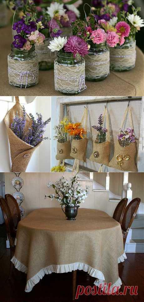 Декор из мешковины: разные мелочи для украшения интерьера | Интерьер и Дизайн