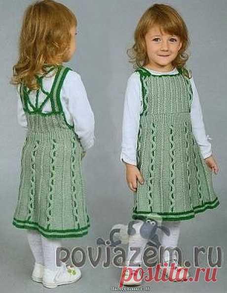 Sundress for the girl knitted spokes\u000d\u000aoaisaniye and the scheme according to the reference: http:\/\/povjazem.ru\/vyazanie-dlya-detej\/plate-tunika\/detskij-sarafan-spicami-olivkovogo-tsveta