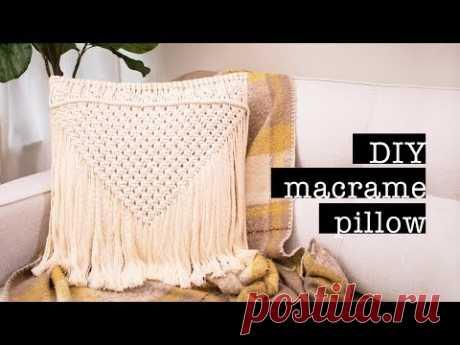 Подушка в технике макракме