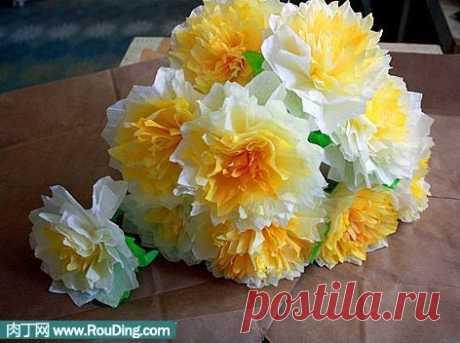 Бумажные жёлтые цветы - Домашний hand-made