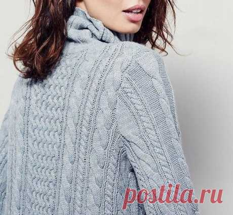 Стильное теплое вязаное платье (Вязание спицами)