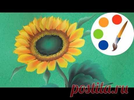 How to paint a sunflower, Paint a flower, One Stroke, irishkalia
