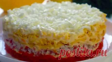 5 слоев вкуснятины: нежный и легкий крабовый салат на Новый Год или на любой праздник - Odnaminyta - медиаплатформа МирТесен