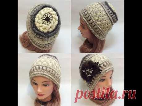 Теплая шапка крючком с оригинальной макушкой2.crochet cap