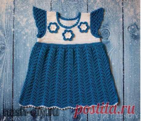 Вязаное платье для девочки крючком Вязаное платье для девочки крючкомВяжем платье для девочки крючком. Я вязала это платье крючком для девочки от 6 мес. до 1 года с обхватом груди 42-44 см. Вы сможете связать это детское платье любого размера. Пряжа для вязания: Coco от Vita Cotton (100% мерсеризованный хлопок, 50 г /240 м), мне