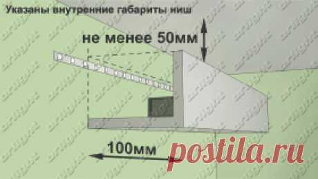 Схемы (разрезы) ниш для монтажа светодиодной ленты