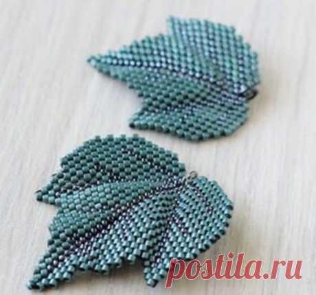 Abutilon leaf\u000d\u000a\u000d\u000a#бижутерия #украшения Beads and beadwork on Biserok.org #бисероплетение #biserok