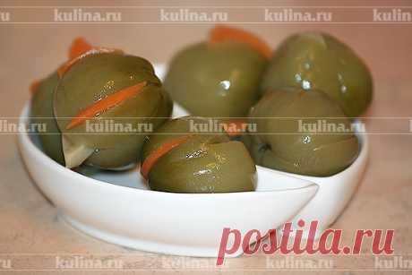 Солёные зелёные помидоры, фаршированные чесноком и морковью – рецепт приготовления с фото от Kulina.Ru