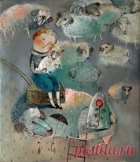 """Простите, что суффикс люблю уменьшительный, Но он такой добрый, такой утешительный: Смени на """"овечку"""" словечко """"овца"""", И вот уже жизнь не имеет конца. И ежели облако белой овечкою Плывёт над рекой, а тем паче над речкою, Белея и тая в дали голубой, То всё будет чудно и с ним и с тобой.  Лариса Миллер Художник Анна Силивончик"""