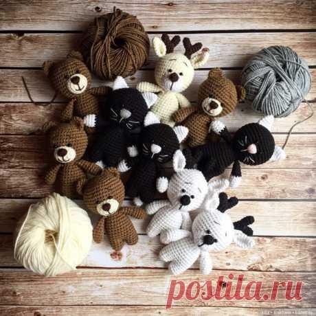 Мишка, котик, зайка, олененок. Автор описания Нелли Шистерова / Схемы вязания игрушек / Бэйбики. Куклы фото. Одежда для кукол