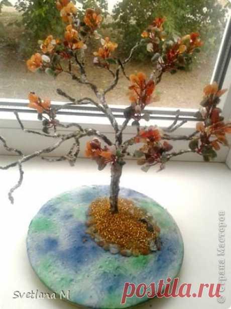 """Бонсай """" Дыхание Осени"""" из натуральных камней +МК по плетению веточек +сборка и формирование кроны дерева."""