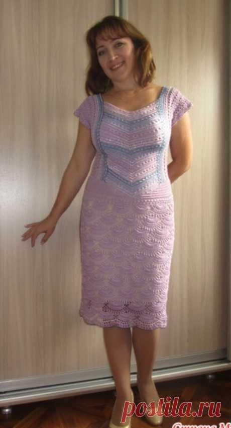 Сиреневое платье крючком с бисером | Женская одежда крючком. Схемы и описание Всем привет!Я очень люблю вязать с бисером. Еще одно мое платье из Бисерной коллекции. Схема узора юбки Благодарю за внимание! Всем хороших выходных!