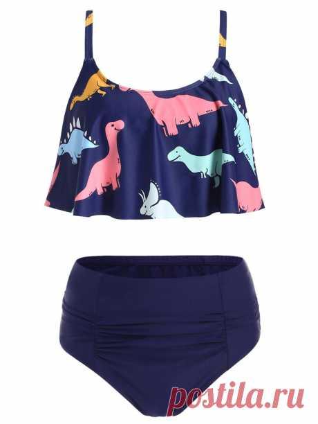 [51% OFF] 2020 Dinosaur Print High Waist Bikini Set In DEEP BLUE | DressLily