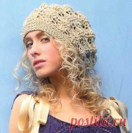Вязаный берет спицами. Схемы вязания беретов и описания бесплатно на Knitka.ru - вязание спицами.