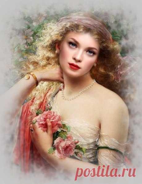 Схема вышивки «dáma,kvety» - Вышивка крестом