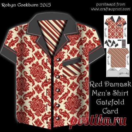 Red Damask Mens Shirt Gatefold Mini Kit