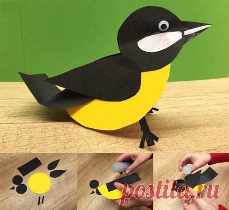 Бумажные птички детскими руками