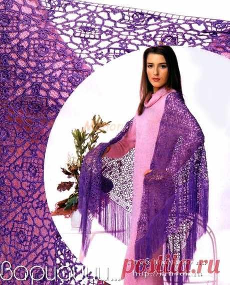 Фиолетовая гипюрная шаль - вязание крючком на kru4ok.ru