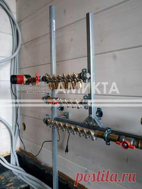 """💧Монтаж узла ввода и коллектора водоснабжения с системой рециркуляции ГВС. Установка оборудования на скользящих опорах - идеальное решение для дома из бруса, подвергающегося процессу """"усадки""""."""