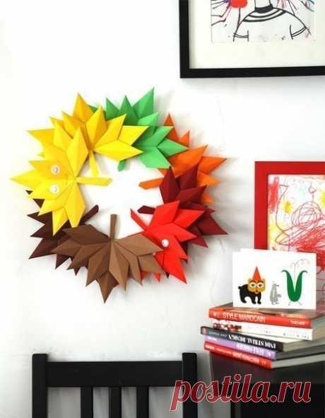 Делаем осенние листья из цветной бумаги