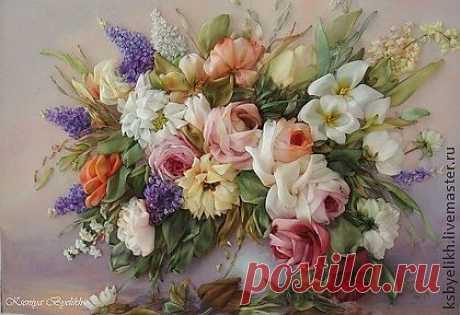 """Букет в вазе """"Розы"""" - Вышивка лентами- Kseniya Byelikh"""