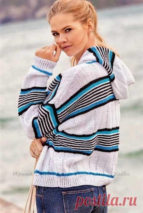 Жакет с капюшоном в морском стиле на застёжке-молнии