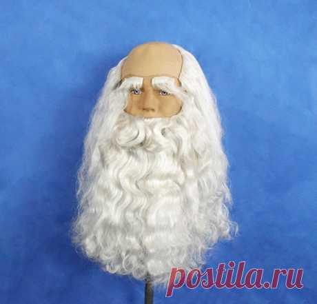 Бесплатная доставка, см 40 см длина Рождество Санта Клаус длинные белая борода украшения для волос костюм комплект усы головной убор шляпа купить на AliExpress