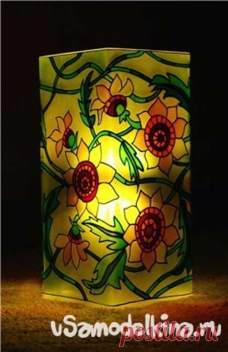 Роспись по стеклу светильника витражными красками