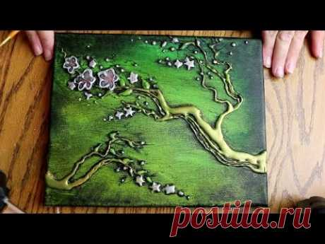 How to PAINT 3D TREE BLOSSOMS with HOT GLUE TEXTURE (Speed Version) - YouTube