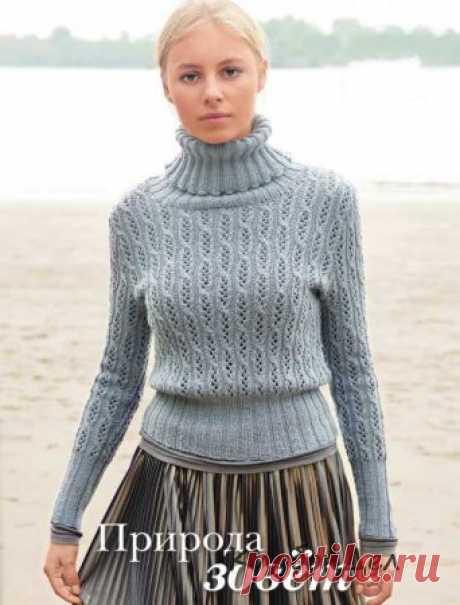 Свитер с ажурными узорами. Схема, выкройка, описание вязания пуловера спицами для женщин