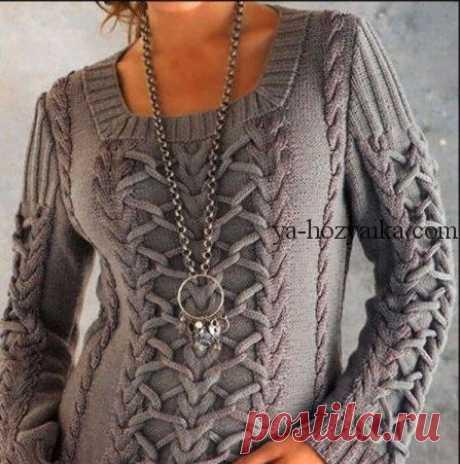 Джемпер с косами и жгутами спицами. Женский свитер с аранами схемы. Вяжем стильный джемпер с косами и жгутами. Описание вязания, схемы, выкройки.