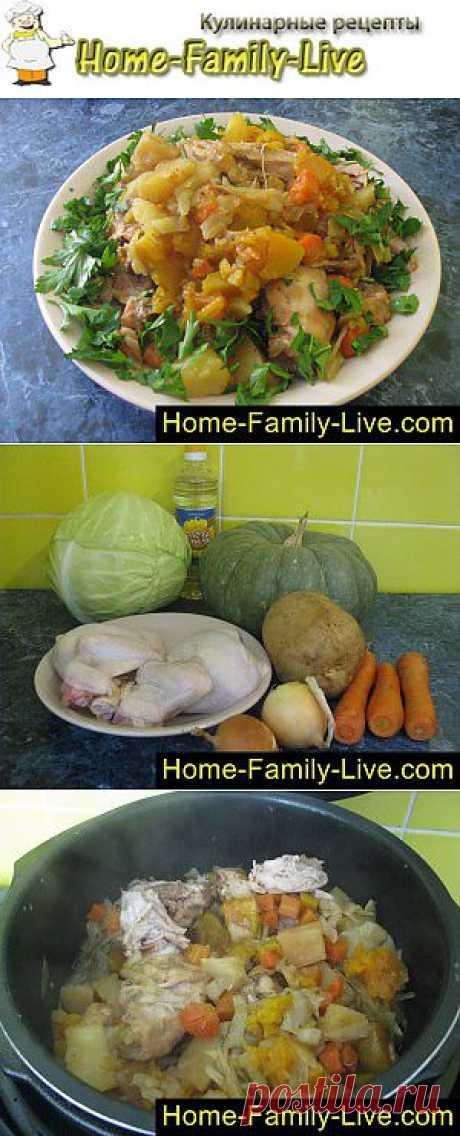Дамлама - пошаговый фоторецепт - курица овощи и тыква в мультиварке | Кулинарные рецепты