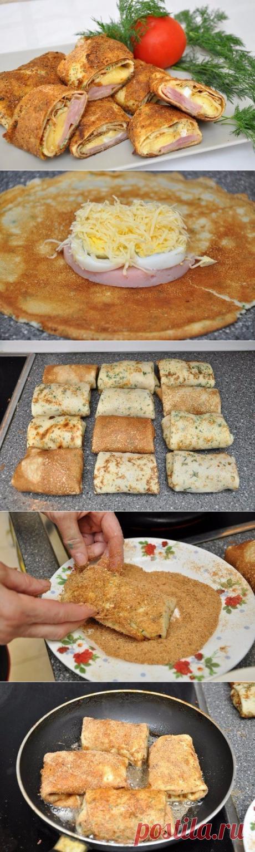 Блинчики с начинкой в панировке | Вкусно приготовим
