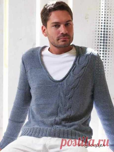 Мужской пуловер с косой для мужчин