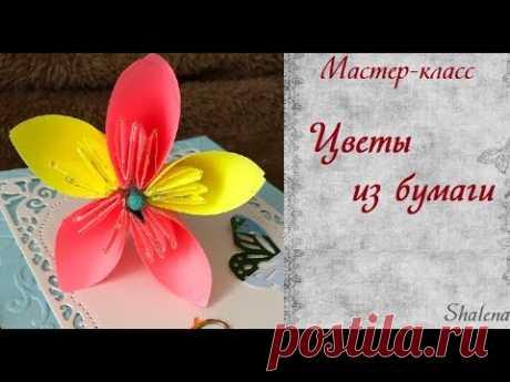 DIY. Оригами: бумажные цветы(Сакура) - YouTube