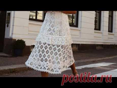 Супер подборка схем для вязания крючком ажурного платья ❤ crochet pattern. Strickmuster.