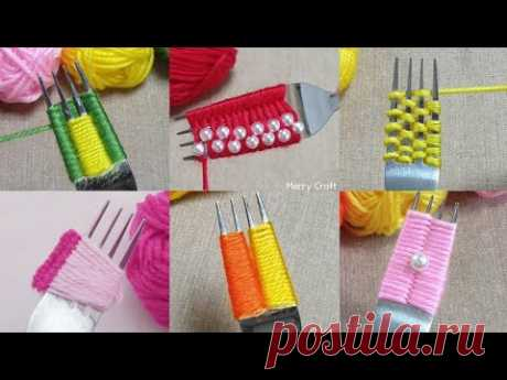 So Beautiful 5 Wool Flower Craft Ideas - Hand Embroidery Amazing Trick with Fork - Easy Wool Design