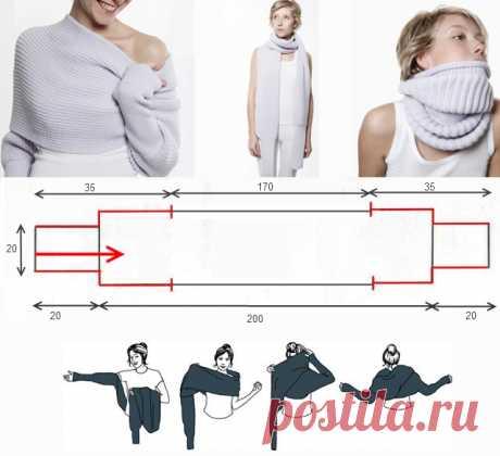 Свитер-шарф с рукавами Sciarpone.Вязание спицами.Видео мастер- класс