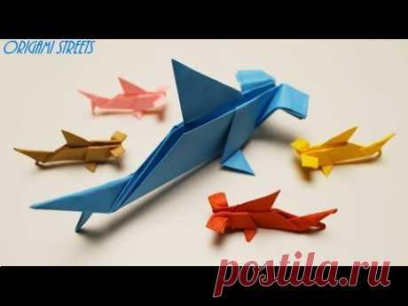 Оригами акула молот из бумаги. Как сделать.