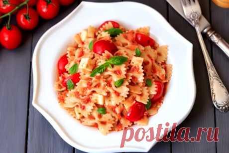 """Обалденная паста с вкуснейшим томатным соусом и моцареллой """"Алла кекка"""""""