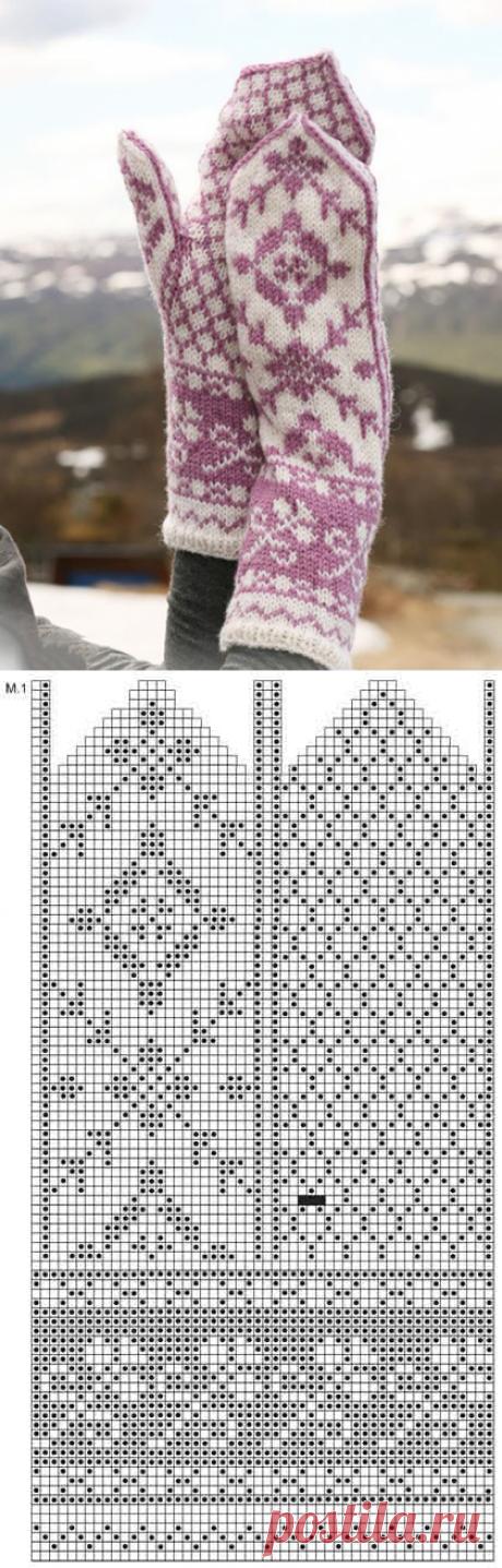 Жаккардовые варежки спицами с молочно-лавандовым орнаментом - Портал рукоделия и моды