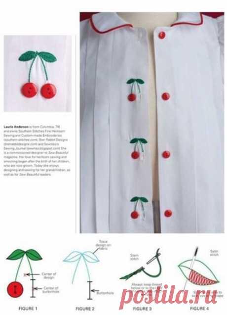 Вариант декорирования рубашки вишенками