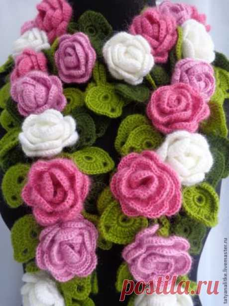 Шарфик с объемными розами - Perchinka63
