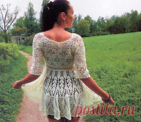 Платье кардиган крючком