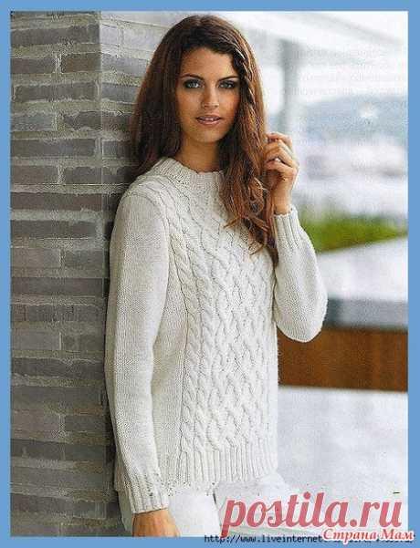 Белый пуловер с аранами на полочке - Вязание спицами - Страна Мам