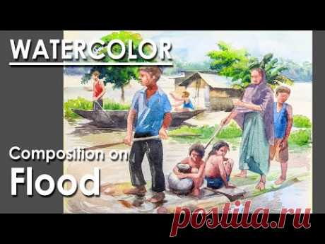 Watercolor Painting : A Composition on Flood | step by step coloring | Artist : Supriyo Mondal