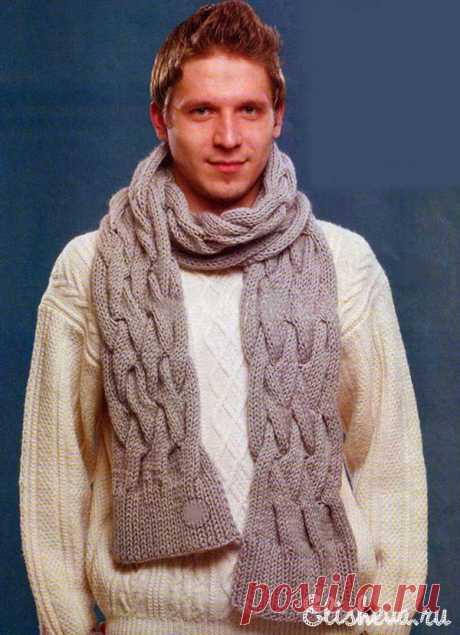 Комплект: мужской пуловер и шарф вязаные спицами